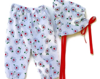 "Clothing for  baby girls ,Bonnet and Harems, size 6-12 months ""READY TO SHIP"""