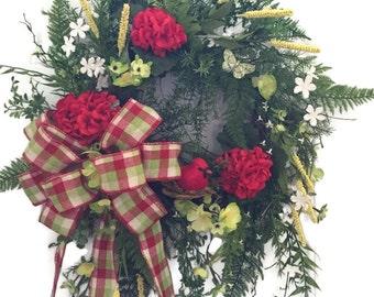 Red Wreath, Red and Green Wreath, Red Geranium Wreath, Mother's Day Wreath, Red Spring Wreath, Red Summer Wreath, Front Door Wreath