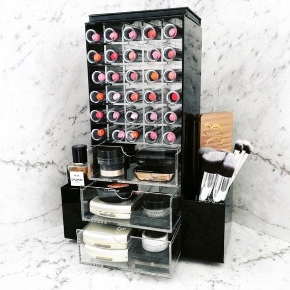 Items similar to black acrylic cosmetic storage organiser - Rangement maquillage commode ...