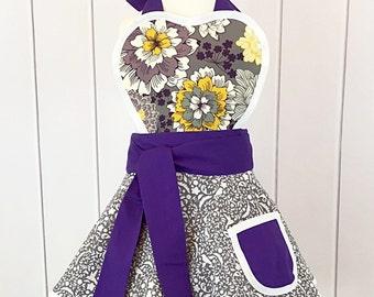 SALE Girls Purple Flowers Apron
