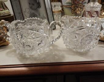 CUT GLASS CREAM and Sugar Set