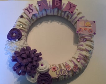 Baby Girl Wreath, Baby Shower Wreath, New Baby Gift, Baby Shower Favor, Baby Room Decor, Welcome Home Baby, Baby Wreath
