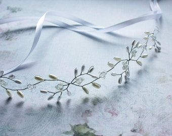 Bridal Hair Vine Bridal Tiara Diadem Crystals Pearls Headpiece Pearl Hair Vine Wedding Headband Bridal Wreath Bridal