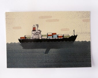 Postcard   BOAT door container   digital printing   quentinriviere