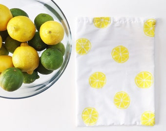 Reusable Cotton Produce Bag - Lemon'
