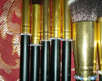 Make-up brushes with crystalized rhinestones(10 piece )