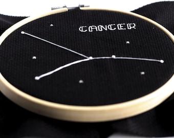 Cancer Cross Stitch June Pattern July Cross Stitch Zodiac Printable Pattern Astronomy Birthday Gift Home Decor French Knot Pattern Hoop Art