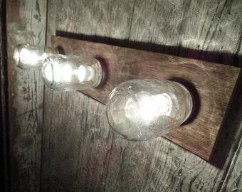 "24"" 3 Mason Jar Light Fixture Country Reclaimed OAK Barn board  Multi Use Vanity/Ceiling Natural Barn Wood Gray"