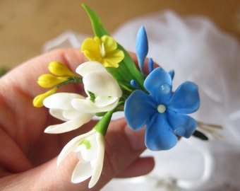 Brooch snowdrop, clay flower brooch, floral brooch, flower boutonniere, cold porcelain, polymer clay brooch, spring  jewelry, spring flowers