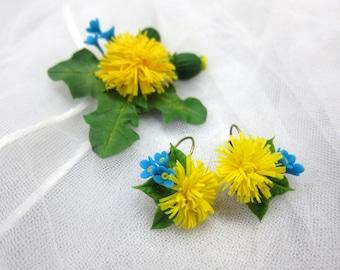 Dandelion flowers pendant, yellow dandelion earrings, romantic earrings, pendant dandelion, polymer clay, forget-me nots ,cold porcelain