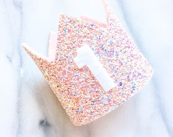 Pink and Peach Glitter Mini Crown, First Birthday Crown, Felt Crown, Princess Peach Crown, Photo Prop, Glitter Birthday Crown, Pink Glitter