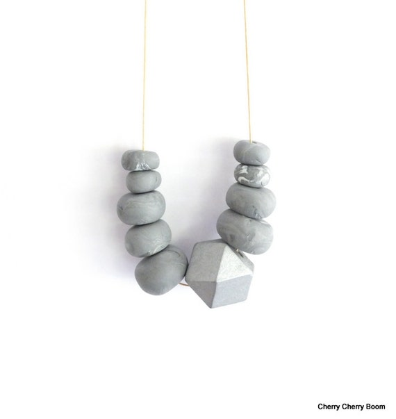 Geometic necklace, necklace, jewellery, geometric, silver, polymer clay, chunky beads, long necklace, clay, boho, bold, wooden beads, fimo