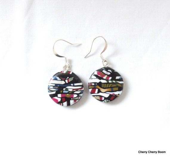 Drop earrings, earrings, jewelry, polymer clay earrings, drop earrings, colourful, bold, ethnic, multicolour, bright, ooak earrings, boho