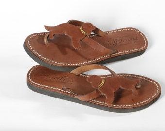 Cavalier King Spaniel flip flops sandals handmade leather shoes