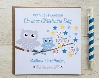 Personalised Blue Owl Christening, Baptism or Naming Day Card - Godson, Grandson, Son, Nephew, Brother (LB102)