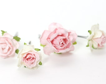 Blush Flower Hair Pins Rose Bobby Pins Ivory Bridal Hair Picks Floral Bobby Pins Bridal Hair Accessories Bridesmaid Hair Pins