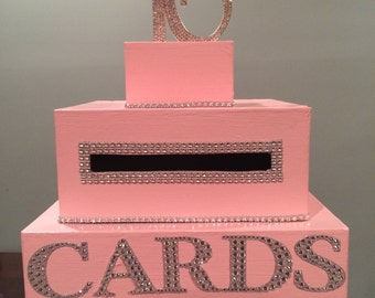 Light Pink Sweet 16 Card Box