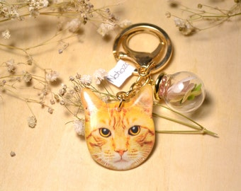 Ginger Tabby Cat Keychain with dried flower in glass ball