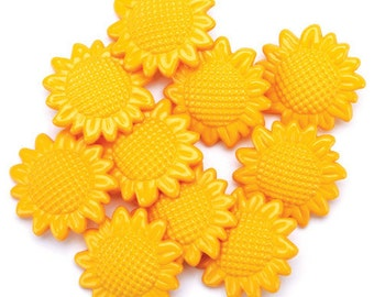SET of 10 BIG  Pretty Sunflower Shanked Buttons Craft knitting Embellishment