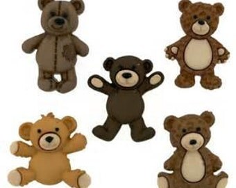 SET of 5 Adorable Teddy Bear shanked Buttons with Shanks/Hoops Craft/ knitting/sewing/ Embellishment