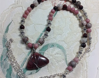 Wire Wrapped Rhodonite Zebra Jasper Necklace