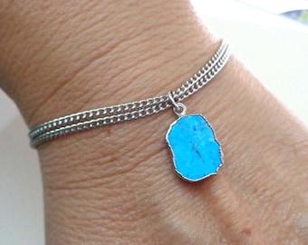 Turquoise Slab Bracelet/Silver edge Turquoise Double Strand/Silver Chain Bracelet/Turquoise Dangle/December Birthstone Bracelet /GE17