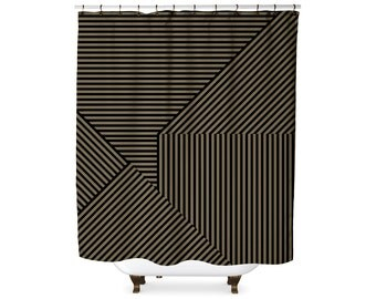 Black and sage striped shower curtain