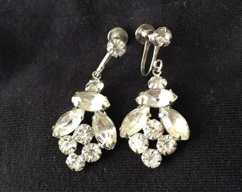 Vintage Clear Crystal Dangle Earrings with Screw Backs