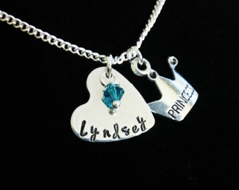 Personalized Princess Necklace,Heart Necklace,Birthstone Necklace,Little Girl Necklace,Little Girl Gift,Kids Necklace,Hand stamped Necklace