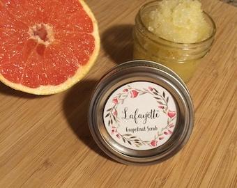 Natural Grapefruit Body Scrub-Organic Body Scrub-Natural Body Scrub-4oz Jar-Coconut Oil-Handmade Body Scrub