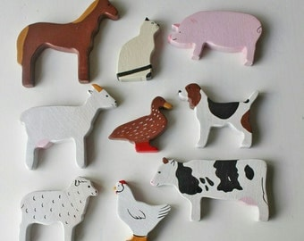 Wooden farm animals set