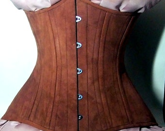 Real double row steel boned underbust corset from real brown suede. Exclusive steampunk historical corset with doubple rows of bones.