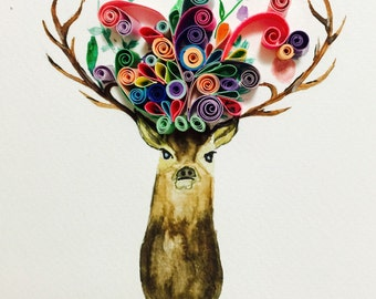 "Quilled art ""Ohh deer"""