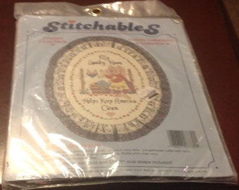 Stitchables Counted Cross Stitch 7789 My Laundry Room Helps Keep America Clean Kit Ruffle Lace Oval Shape Dimensions 14 Count Aida