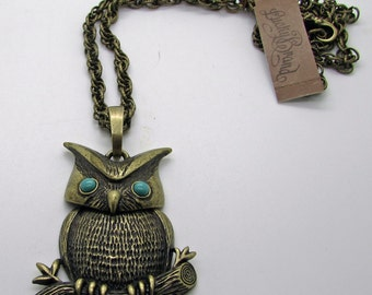 Owl Necklace Bronze Colour Lucky Brand New With Tag Faux Turquoise Eyes Sitting On Branch Boho Chic  Gifts For Her