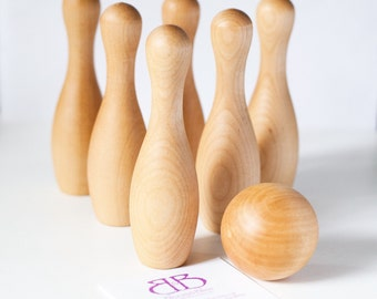 Wood Bowling Set / Children's Bowling Set / Wooden Bowling Game / Toddler Toy / Montessori Toy / Wood Toy / Baby Shower Gift