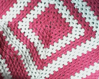 Granny square baby girl afghan