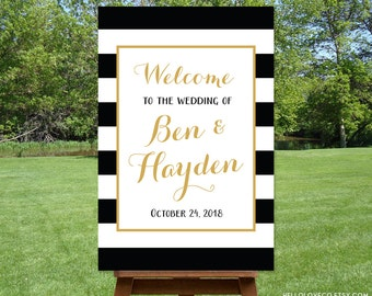 PRINTABLE Large Wedding Welcome Sign, Custom Wedding Sign, Black and White Stripes, Black, White, and Gold Wedding, DIGITAL FILE