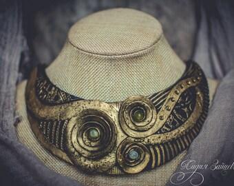 Statement necklace Bib necklace gold necklace polymer clay necklace Large gold necklace gold green necklace nephritis necklace