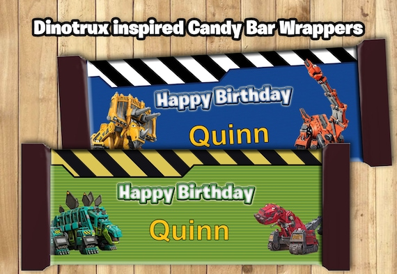 Dinotrux Candy Bar Wrappers - Download Customize Print - Dinotrux Chocolate Bar Wrappers Dinotrux Chocolate Bar Wraps 1.5 oz (43g)