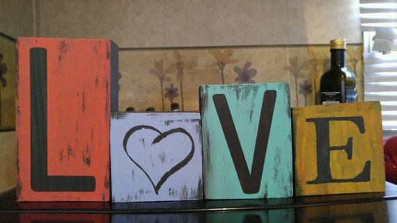 Beautiful hand painted wooden block Love sign