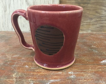Wheel Thrown Pottery Mug in Red with Lined Engobe 13 oz