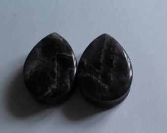"""30mm (1 & 1/8"""") stone teardrop amethyst double flared plugs"""