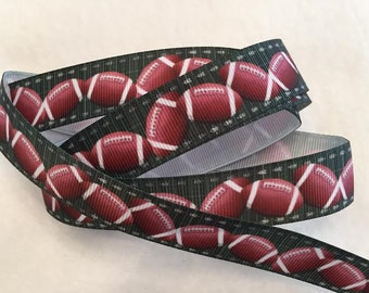 Footballs on the Field Grosgrain Ribbon 7/8""