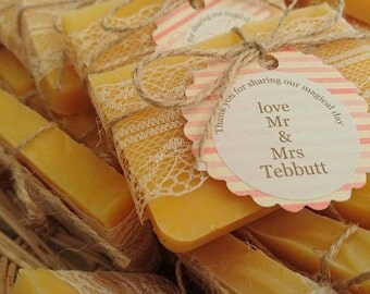 Wedding favour soaps, natural handmade soap bars, burlap, lace, vintage style, rustic wedding