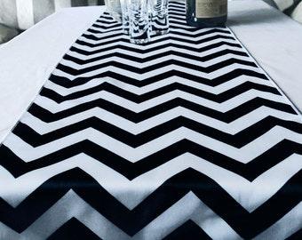 Chevron Table Runner - Black - TBLRNCV-BK