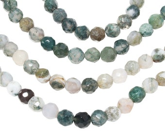 15 IN Strand 6 mm Moss Agate Round Faceted Gemstone Beads (MSARNF0006)