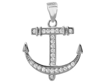 1 Pc Sterling Silver 19.3x18.5 mm Anchor Pendant W/ CZ (SSP100127)