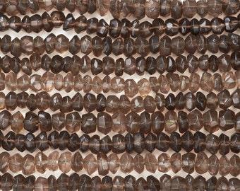 14 IN Strand 5 mm Smokey Quartz Faceted Rondelle Gemstone Beads (SMQRLF0005)