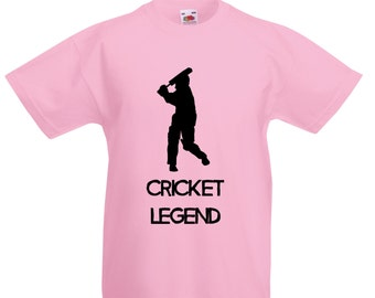 Kids Cricket Legend T-Shirt / Childrens Cricketer T Shirt in Blue, Yellow, Pink, Grey, Navy / Ages: 3-4, 5-6, 7-8, 9-11, 12-13